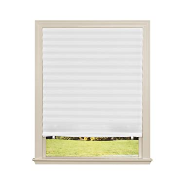 """Original Light Filtering Pleated Fabric Shade White, 36"""" x 72"""", 4-Pack"""