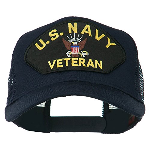 e4Hats.com US Navy Veteran Military Patch Mesh Back Cap - Navy OSFM (Military Ball Caps Veteran)