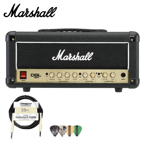 Marshall DSL15H 15W All-Tube Guitar Amp Head Kit - Includes Cable and Pick Sampler by Marshall Amps