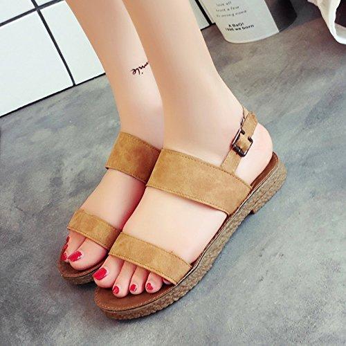 RUGAI-UE Sandalias de verano playa plana Zapatos Zapatos Casual estudiante Toe Slip Brown