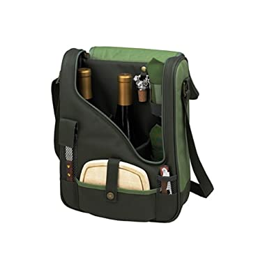 Picnic at Ascot Wine and Cheese Cooler Bag Equipped for 2 with Glasses, Napkins, Cutting Board, Corkscrew , etc.  - Forest Green