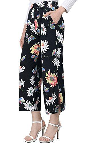 Flower Wide Ililily Capri Black Side Trousers Women Palazzo Stretchable Slit Pants Elastic BHPqxHw