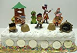 Jake and the Neverland Pirates 17 Piece Cake Topper Set Featuring Jake, Izzy, Cubby, Skully, Captain Hook, Smee, Tick-Tock Croc, Pirate Raft, Lookout Tower, and Pirate Decorative Coins, Health Care Stuffs