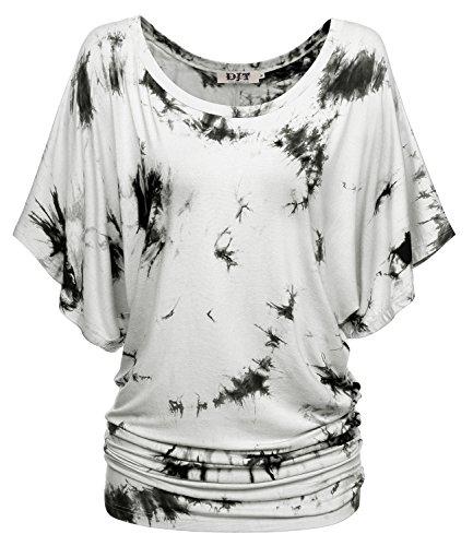 DJT-Mujeres Camiseta Top con Mangas de Murcielago Gris-Negro