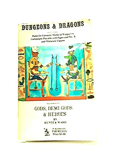 Miniatures Dragons And Rules Dungeons (Dungeons & Dragons: Additional Rules for fantastic medieval wargames, playable with paper and pencil and miniature figures. Supplement IV Gods, Demi-Gods & Heroes)