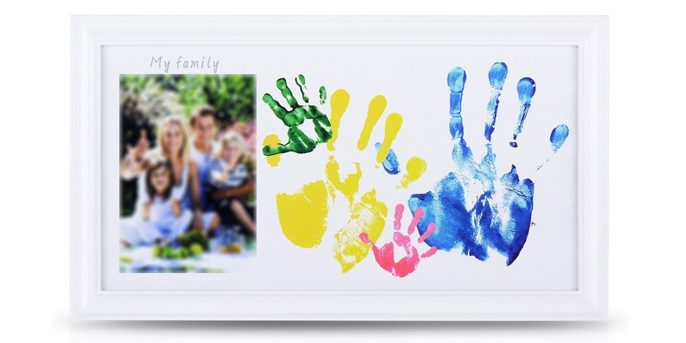 NWK DIY Family Photo + Family Handprints Kit with 10 X 17'' Elegant White Wood Picture Frame, Non-Toxic Watercolor Paints,, Baby Registry Keepsakes, Perfect