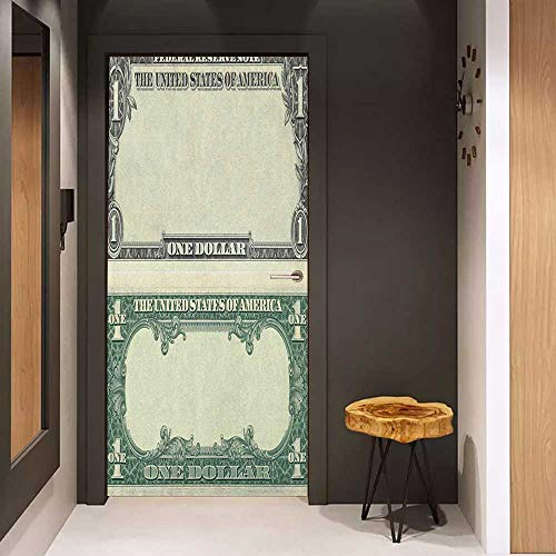 Photo Wall Decal Money One Dollar Bill Buck Design American Federal Reserve Note Pattern Wealth Symbol for Home Decor W32 x H80 Pale Green Grey