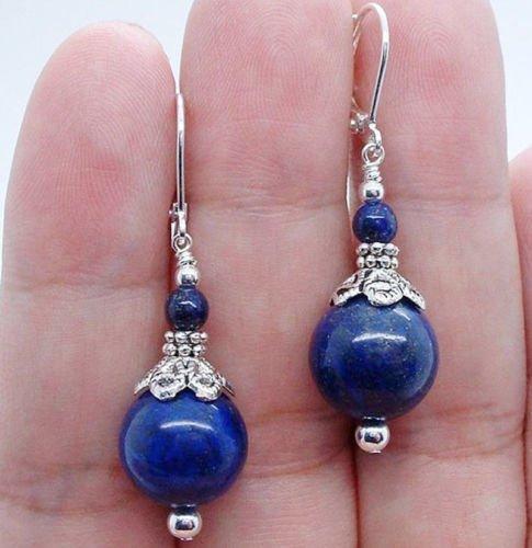 - Gozebra(TM) Natural 6-12mm Blue Egyptian Lapis Lazuli Round Beads Dangle earrings AAA Grade