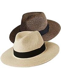 54d7cb25648df Womens Wide Brim Straw Panama Hat Fedora Summer Beach Sun Hat UPF50