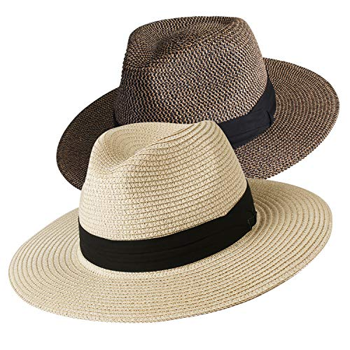 Womens Wide Brim Straw Panama Hat Fedora Summer Beach Sun Hat ()