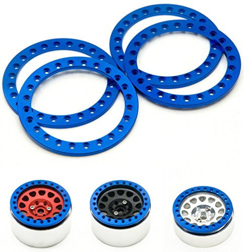 2.2 Ring Beadlock (RCLIONS 4pcs Blue Aluminum Replacement Wheel Rim Beadlock Ring for 1:10 Crawler Wraith RC Car 2.2