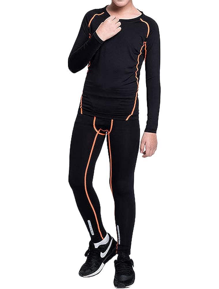 Mallimoda Boys Long Sleeve Compression Shirts and Pant 2 Pcs Thermal Underwear Set Base Layer