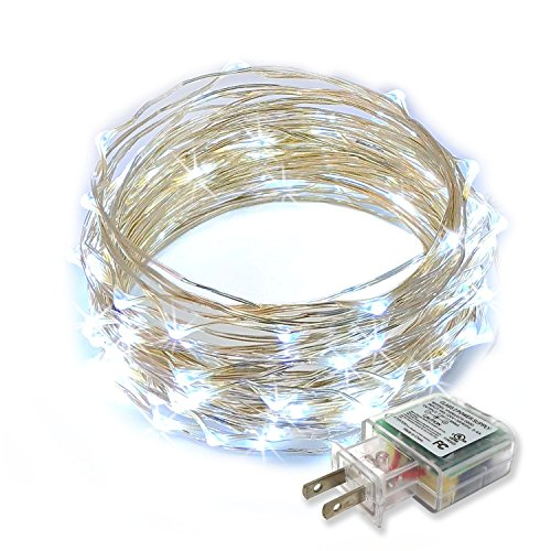 RTGS 100 LEDs String Lights Plug-in on 32 Feet Long Silver Color Wire, Indoor Outdoor Use (Cold White Color 100 LEDs 32 FEET) ()