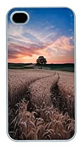 Barley field Custom iPhone 4s/4 Case Cover Polycarbonate White Halloween gift