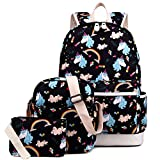 Kemy's Inicorn School Backpack for Girls Set 3 in 1 Cute Printed Bookbag 14inch Laptop School Bag for Girls Water Resistant Gift, Black
