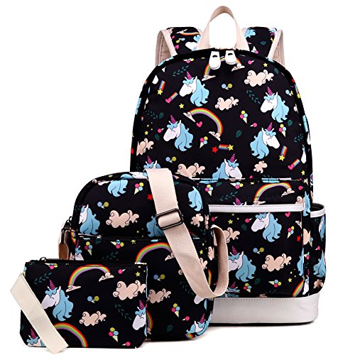 Kemy's Girls School Backpack Set 3 Cute Bookbag Lunchbag Sets Laptop School Bag for Teen Girls Waterproof, Black