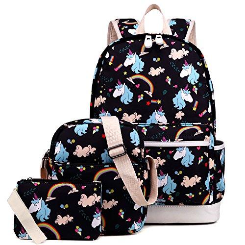 Kemy's Girls School Backpack Set 3 Cute Bookbag Lunchbag Sets Laptop School Bag for Teen Girls Waterproof, Black