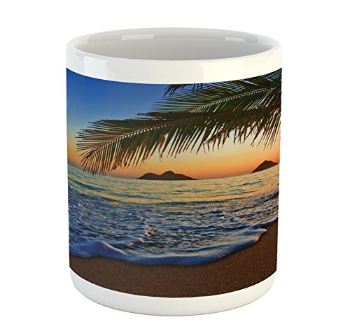 - Ambesonne Hawaiian Mug, Pacific Sunrise at Lanikai Beach Hawaii Colorful Sky Wavy Ocean Surface Scene, Printed Ceramic Coffee Mug Water Tea Drinks Cup, Blue Brown