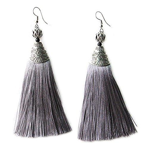 Me&Hz Bohemia Long Dangle Grey Tassel Earrings for Women Girls Silver Big Silk Tassels Vintage Eardrop