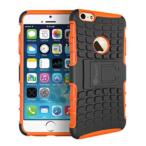 GearIt iPhone 6s Plus Case, [BLOK Armor] Hybrid Dual Layer Rugged Case Cover with Kickstand GearIt Made for Apple iPhone 6 Plus / 6s Plus (2015), Orange