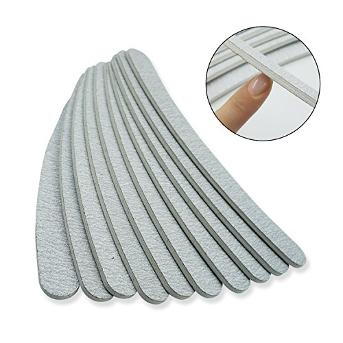 Nail Files 10 Pcs Double Sided Grey Curved Emery Board Professional Nail Tools