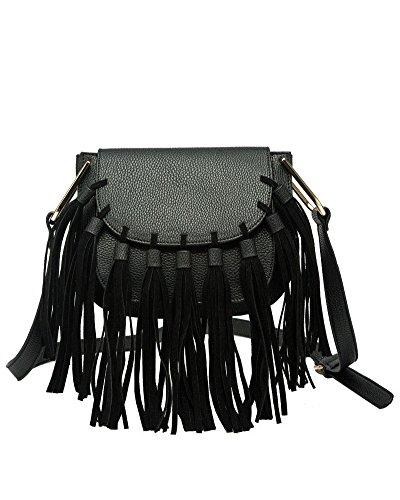 Crossbody Leather Melie Vegan Black Fringe Bianco Blair nqOvaX0