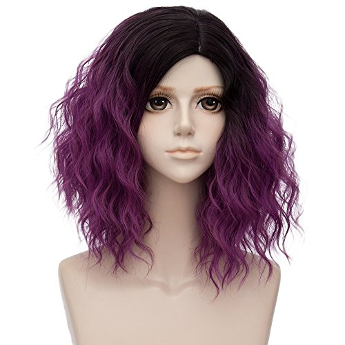 Sports Wig (TOPMAX Ombre Short Curly Heat Resistant Cosplay Wig Fashion Lolita Women's Party, Black Mixed Dark Purple)