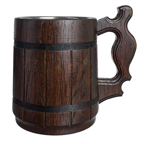 (Handmade Beer Mug Natural Wood Stainless Steel Cup Gift Eco-Friendly 0.6L 20oz Classic Brown)