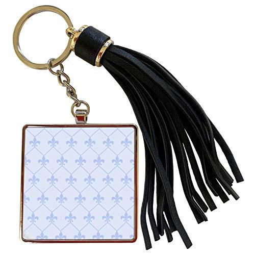 (3dRose 777images Designs Graphic Design Fleur de lis - Vintage blue fleur de lis wallpaper connected in diamond shape pattern - Tassel Key Chain (tkc_171852_1))