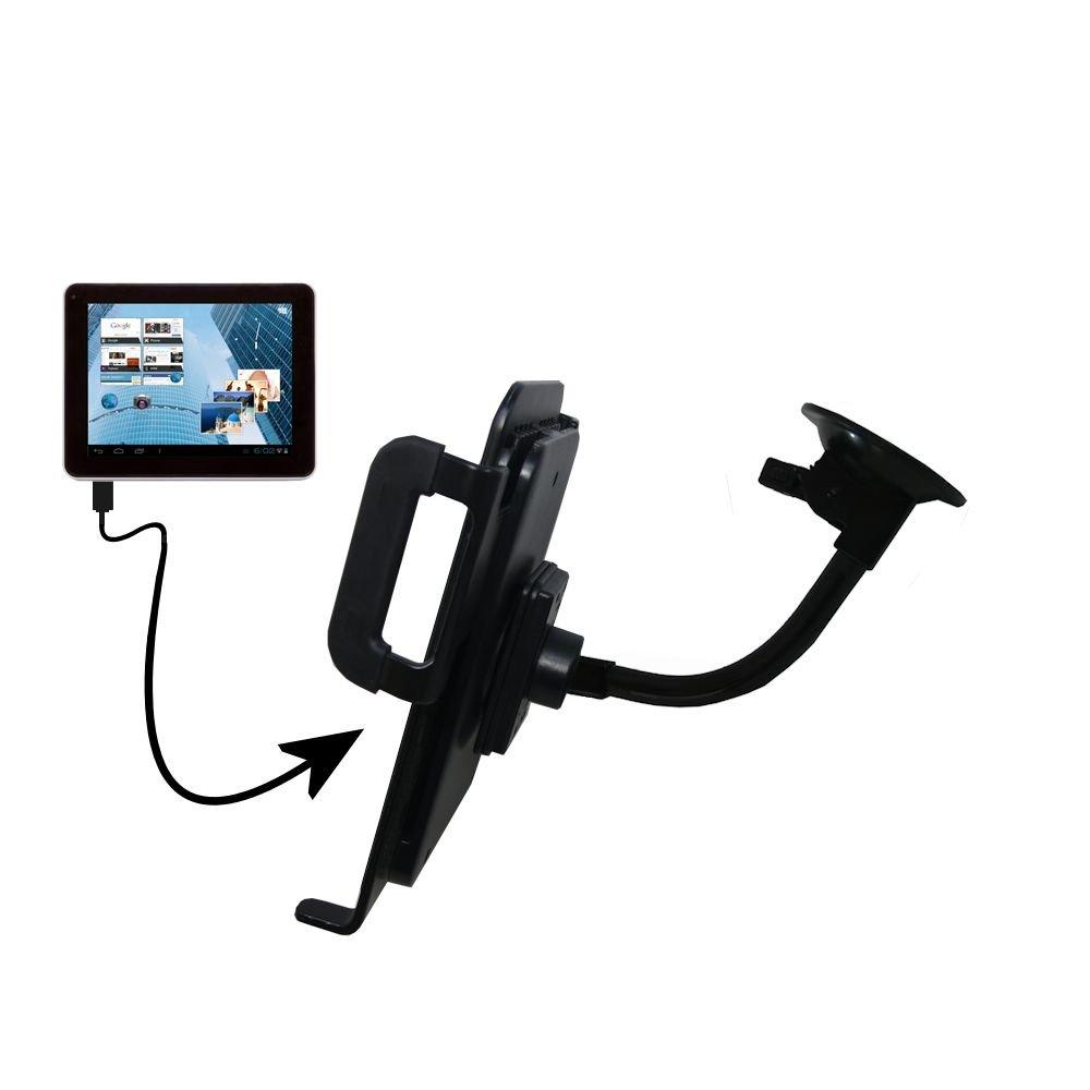 Unique Suction Cup Mount for the Leader Impression i7 / i10 Tablet with Integrated Gooseneck Cradle Holder