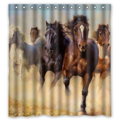 Horse Pattern Polyester Fabric Shower Curtain Water Resistant Shower Curtains Shower Rings Included 66