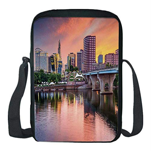 United States Print Kids Crossbody Messenger Bag,Water Reflection in Evening Urban City Hartford Connecticut Tranquil Sunset Decorative for Boys,9''H x 6''L x 2''W