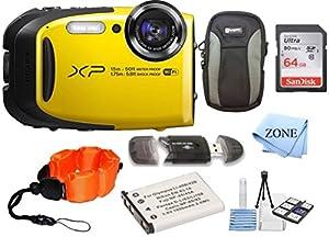 Fujifilm FinePix XP80 Waterproof Digital Camera with 2.7-Inch LCD + 64GB Memory Card+ Wrist Floating Strap + Replacement NP-45 Battey Bundle kit
