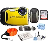 Fujifilm FinePix XP80 Waterproof Digital Camera with 2.7-Inch LCD + 64GB Memory Card+ Wrist Floating Strap + Replacement NP-45 Battey Bundle kit (Yellow)
