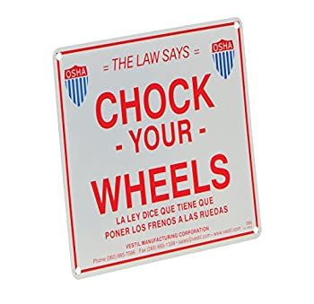 "Vestil SA-1012 Aluminum Enamel Wheel Chock Sign, 11-3/4"" Width, 9-3/4"" Height"