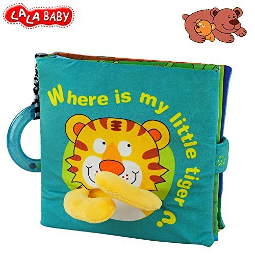LALABABY Tiger Fabric Activity Soft Baby Book, Handmade Educational Baby Toys for 0-3 Years