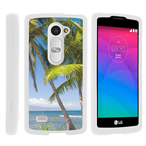 (TurtleArmor | LG Sunset Case L33L | LG Power Case L22C | LG Destiny Case L21G [Slim Duo] Fitted Ultra Compact Slim Hard Case Rubberized Coat Snap On Shell on White Beach Design - Coastal Shore)