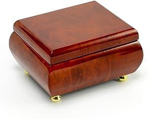 Astonishing Hi Gloss Wood Tone Petite Music Box - Many Songs to Choose - Singing in The Rain