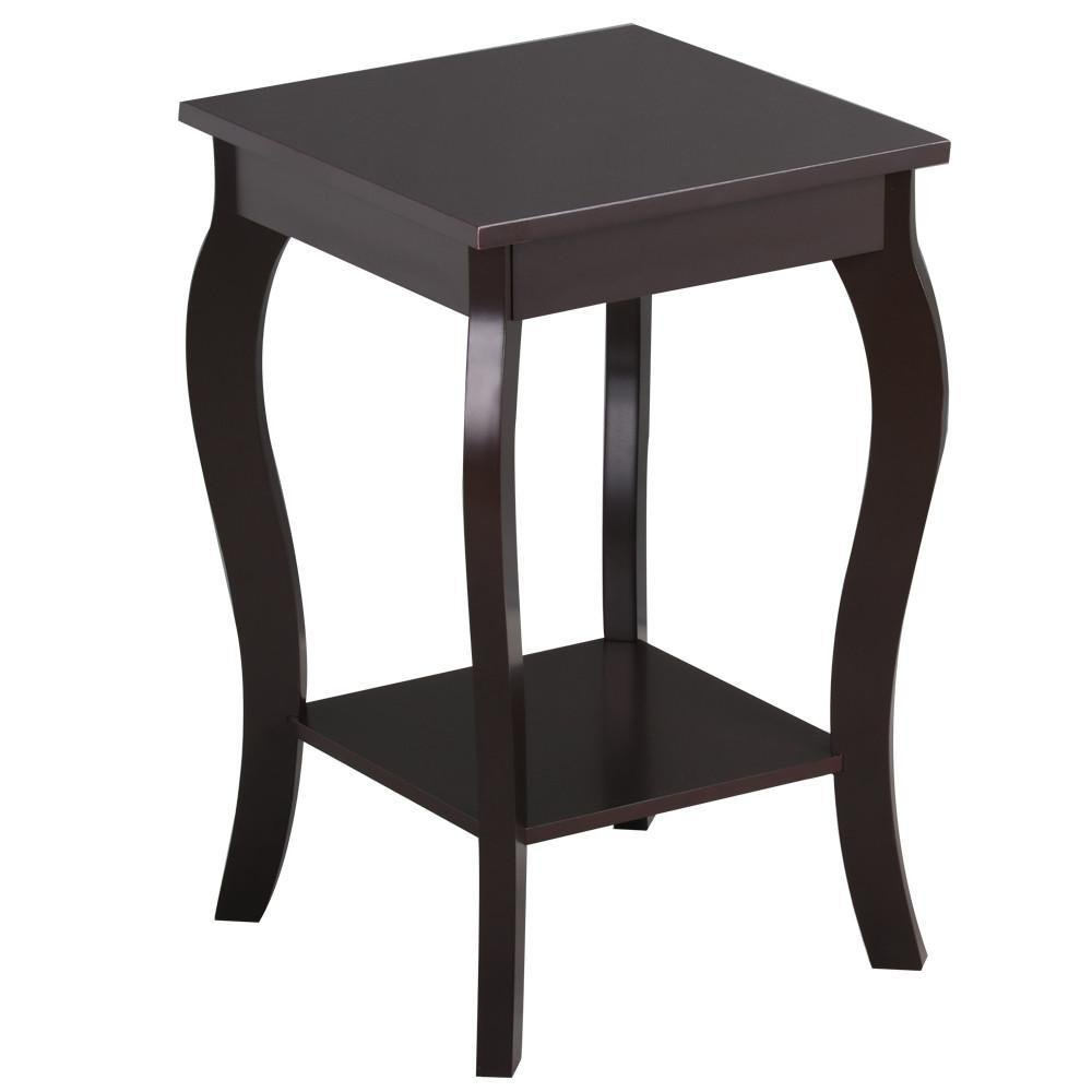 Amazon com topeakmart wood accent table chairside sofa recliner side end table with shelf nightstand in bedroom living room espresso kitchen dining
