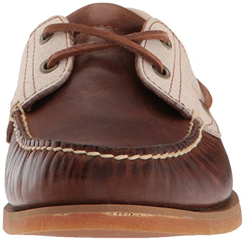 Timberland Men's Classic Boat 2 Eyerubber Chaos W/Croissant Mystic Shoes, Medium Brown Full Grain Rubber Chaos Croissant Mystic