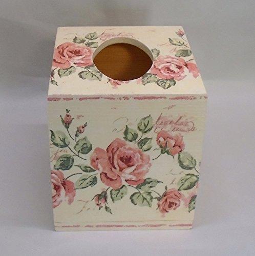 Handmade Decoupage Wood Tissue Box, Vintage Pink Roses, Shabby Chic