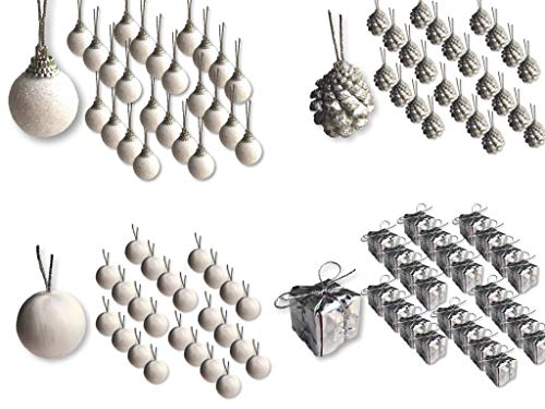 BANBERRY DESIGNS Mini Christmas Ornaments - Set of 96 Silver and White Miniature Ball and Pine Cone Ornaments - Approx. 1