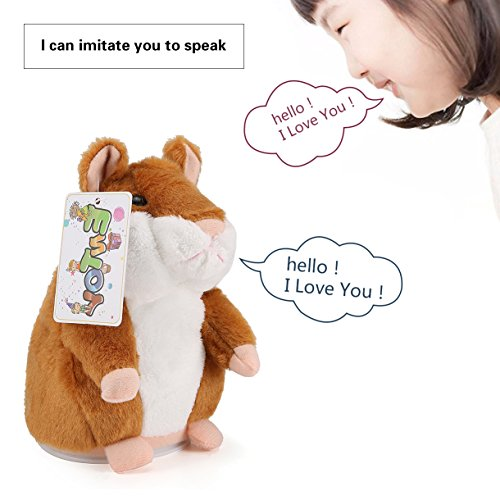 Price comparison product image ENTOY Talking Hamster Sound Repeating Animal Toy Talking Plush Toys for Children Brown