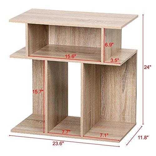 go2buy Unique Design Wood End Accent Table Accent Side Table Bedside Table Coffee Table in Reclaimed Vintage Look, Oak