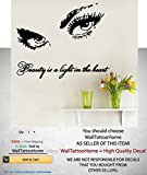 "Eyes Eyelashes Wall Decals Quote Beauty Salon Decal Makeup Vinyl Beauty Is A Light Sticker Girls Room Nursery Bathroom Home Decor Art Mural Ms285 (17"" x 22"")"