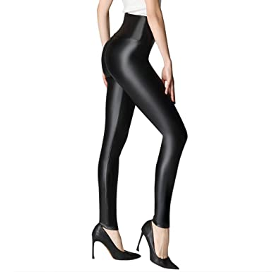 d960a6a679bea7 KEALLI Sexy Womens Faux Leather High Waisted Leggings PU Stretchy Synthetic  Skinny Pants(Black,