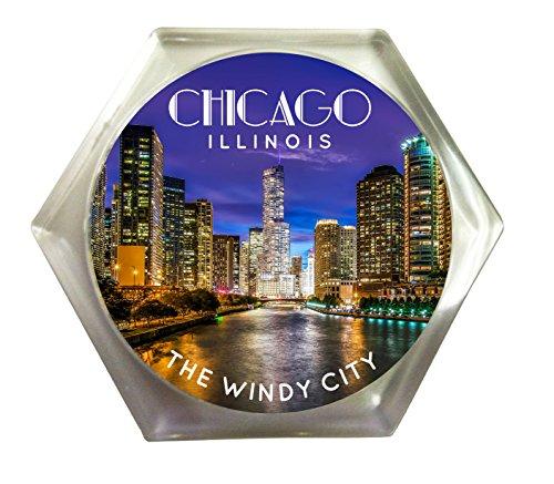 Chicago Illinois CItyscape Skyline Windy City Souvenir Acrylic Plastic Beverage Coaster -