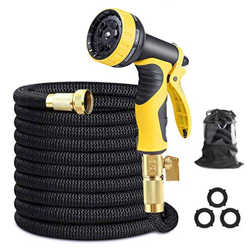 Syolee Flexible and Expandable Garden Hose with 3/4 inch Solid Brass Fittings 9 Function Spray Nozzle Expanding Water Hose for Outdoor Lawn car