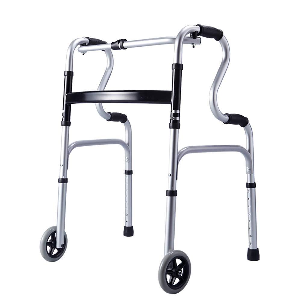 Height 8 Adjustable, one-Button Folding, with Wheels, Aluminum Alloy Elderly Walker. (Size : Walker+Wheel)