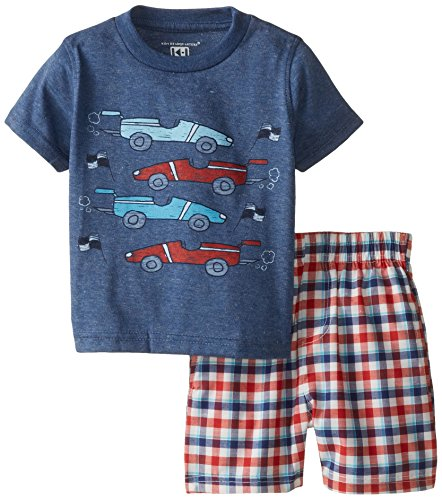 Kids Headquarters Baby Boys' Navy Tee with Plaid Shorts   Cars